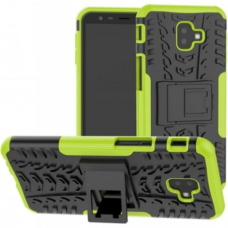 Coque pour Samsung J8 2018 Anti chocs stand béquille vert / noir