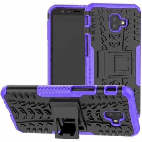 Coque pour Samsung J8 2018 Anti chocs stand béquille violet / noir