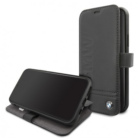 Etui iphone 11 pro BMW signature Folio cuir noir
