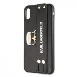 Coque pour Iphone XS Max 6,5 Karl Lagerfeld Head Hand Strap noir