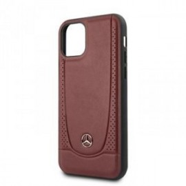 Coque pour Iphone 11 Pro Mercedes cuir perforé rouge