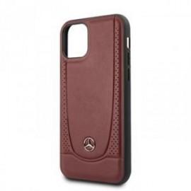 Coque pour Iphone 11 Pro Max Mercedes cuir perforé rouge
