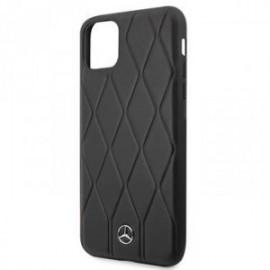 Coque pour Iphone 11 Pro Max Mercedes cuir matelassé noir