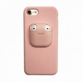Coque pour Iphone 7/8 avec étui earpods rose