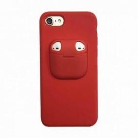 Coque pour Iphone 7/8 avec étui earpods rouge