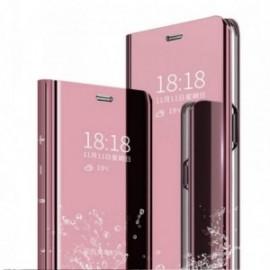 Etui pour Xiaomi Note 8T Folio stand miroir rose