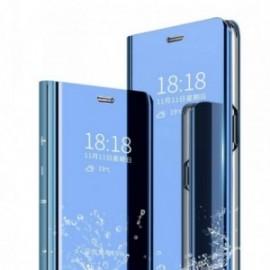 Etui pour Xiaomi Note 8T Folio stand miroir bleu