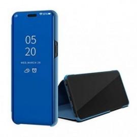 Etui pour Oppo Reno 10X Zoom Folio stand miroir bleu