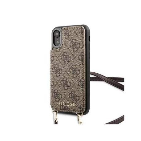 Coque pour Apple iPhone XR Guess 4G Cartes à bandoulière marron