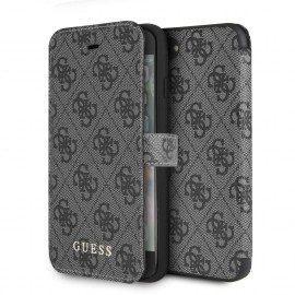 Etui iPhone 8 folio Guess Charms gris 4G