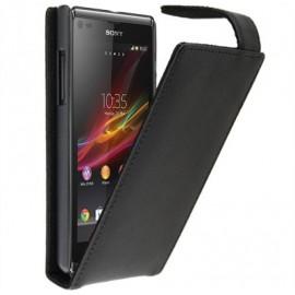 Etui Sony Xperia L simili cuir noir