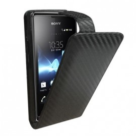 Etui Sony Xperia E noir carbone