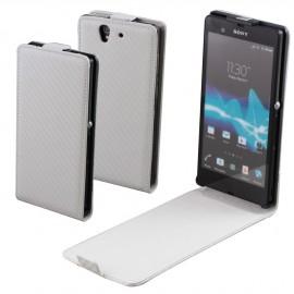 Etui Sony Xperia Z C6603 blanc carbone