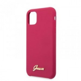Coque pour Iphone 11 Guess silicone vintage logo fuchsia