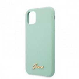 Coque pour Iphone 11 Guess silicone vintage logo vert