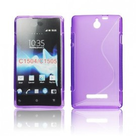 Coque Sony xperia E violette bi-matière