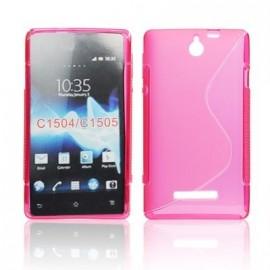 Coque Sony xperia E rose bi-matière