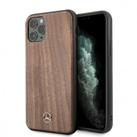 Coque pour Iphone 11 Mercedes Wood Line Walnut