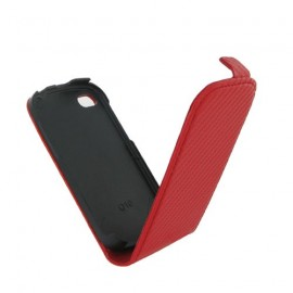 Etui Blackberry Q10 rouge aspect carbone