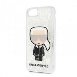 Coque pour Iphone 7/8/SE 2020 Karl Lagerfeld Paillettes argent