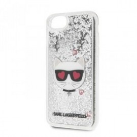 Coque pour Iphone 7/8/SE 2020 Karl Lagerfeld Choupette Paillettes argent