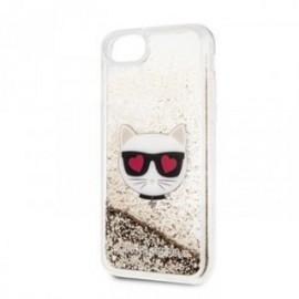 Coque pour Iphone 7/8/SE 2020 Karl Lagerfeld Choupette Paillettes or