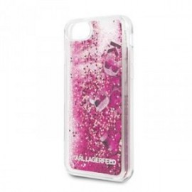 Coque pour Iphone 7/8/SE 2020 Karl Lagerfeld Paillettes Charms rose