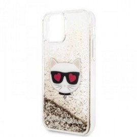 Coque pour Iphone 11 Karl Lagerfeld Choupette Paillettes or
