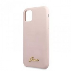 Coque pour Iphone 11 Guess logo silicone rose