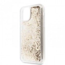Coque pour Iphone 11 Guess Paillette cœur or