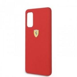 Coque pour Samsung S20 G980 logo Ferrari silicone rouge