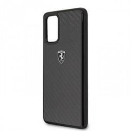 Coque pour Samsung S20 plus G985 logo Ferrari Heritage carbone noir