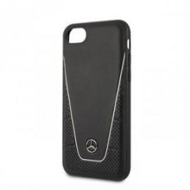 Coque pour Iphone 7/8/SE 2020 Mercedes cuir Quilted noir