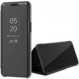 Etui pour Huawei Y5P Folio stand effet miroir noir