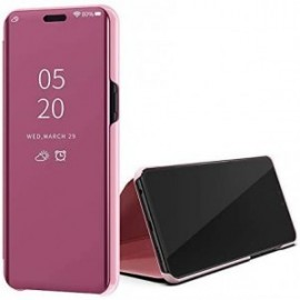 Etui pour Huawei Y5P Folio stand effet miroir rose