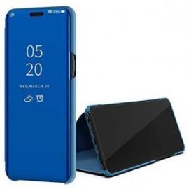 Etui pour Huawei Y5P Folio stand effet miroir bleu