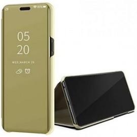 Etui pour Huawei Y5P Folio stand effet miroir or