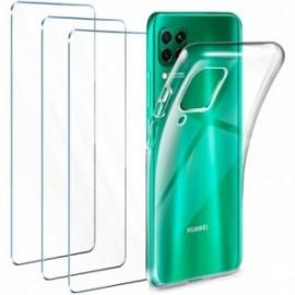 Coque pour Huawei P40 Lite Transparente + 3 x Verre trempé  étui Protecteur Bumper