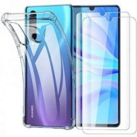 Coque pour Huawei P30 Lite, Huawei P30 Lite XL + 2 x Verre trempé ,  Protecteur écran, Transparent Silicone Souple Antichoc