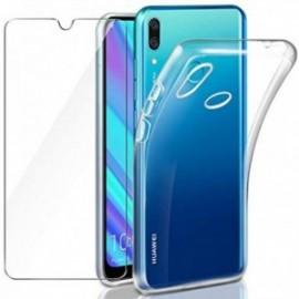 Coque pour Huawei Y7 2019 / Huawei Y7 Prime 2019 Transparente + Verre trempé  étui Bumper Case Cover