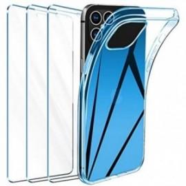 Coque pour iPhone 12 Transparente + 3 x Verre trempé  étui Protecteur Bumper Case