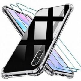 Coque pour Xiaomi Redmi 9A Transparente + 2 x Verre trempé  [Antichoc Bumper] étui Protecteur Housse