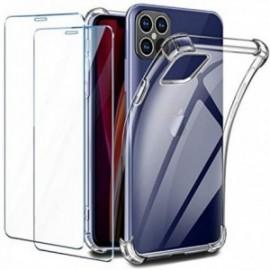 Coque pour iPhone 12 Pro Max Transparente + 2 x Verre trempé  [Antichoc Bumper]