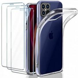 Coque pour iPhone 12 Max/iPhone 12 Pro Transparente + 3 x Verre trempé  étui Protecteur Bumper