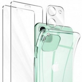 Coque pour iPhone 11 Transparente + 2 Verre trempé ,  Protection écran + protection Caméra , Souple Silicone Bumper