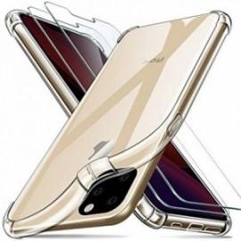 Coque pour iPhone 11 Pro (5.8) Transparente + 2 x Verre trempé ,  Protection écran Film [Antichoc Bumper]