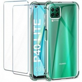 Coque pour Huawei P40 Lite Transparente + 2 x Verre trempé  [Antichoc Bumper]