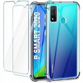 Coque pour Huawei P Smart 2020 Transparente + 2 x Verre trempé  [Antichoc Bumper]