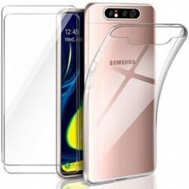 Coque pour Samsung Galaxy A80 Transparente + 2 x Verre trempé  étui Protecteur Bumper   Case Cover