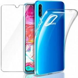 Coque pour Samsung Galaxy A70 Transparente + Verre trempé  étui Protecteur Bumper Case Cover Coque
